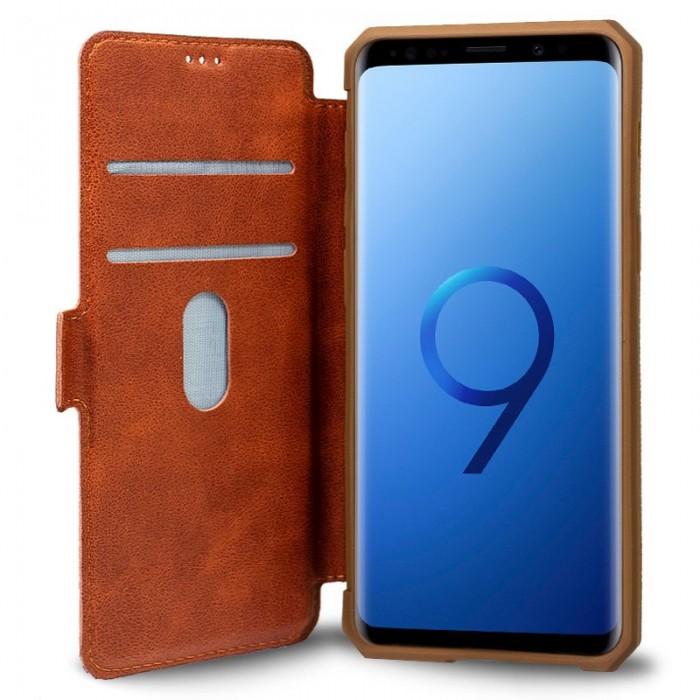 Funda Flip Cover Samsung G960 Galaxy S9 Leather Marrón