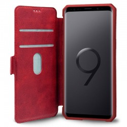 Funda Flip Cover Samsung G965 Galaxy S9 Plus Leather Rojo