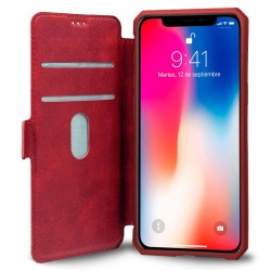 Funda Flip Cover iPhone X / iPhone XS Leather Rojo
