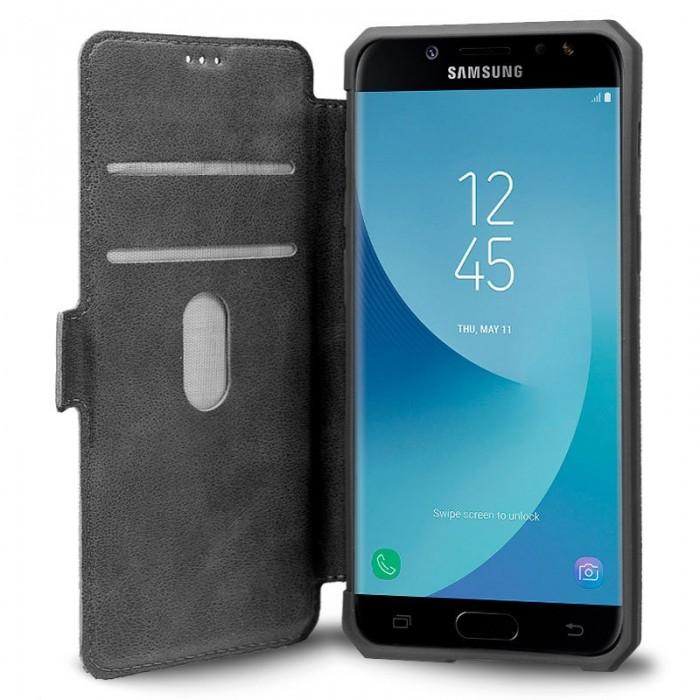 Funda Flip Cover Samsung J730 Galaxy J7 (2017) Leather Gris