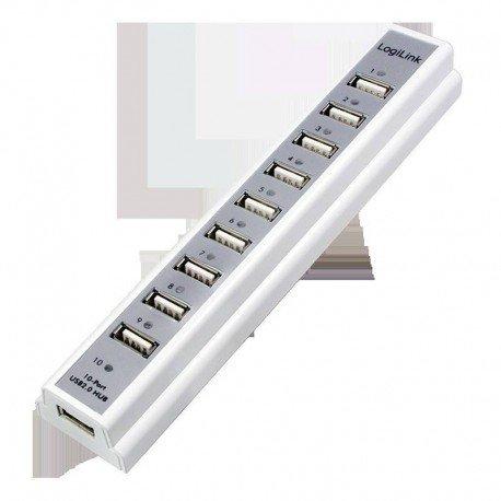 HUB 10 PUERTOS USB2.0 LOGILINK +F.ALIM UA0095 WHIT