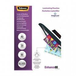 FUNDAS PLASTIFICAR FELLOWES A5 - 25 PCS - 80 MIC