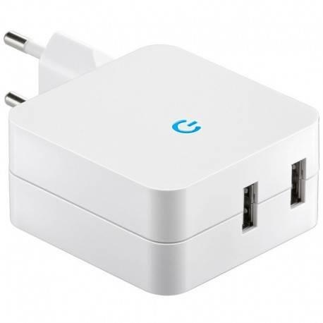 CARGADOR USB CASA GOOBAY BLANCO 2XUSB 4.2A