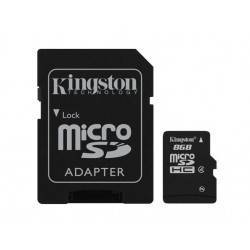 MEM MICRO SD 8GB SDHC KINGSTON CLASE 4 + ADAPT SD