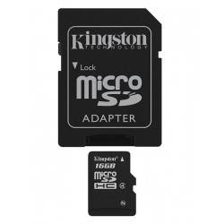 MEM MICRO SD 16GB SDHC KINGSTON CLASE 4 + ADAPT SD