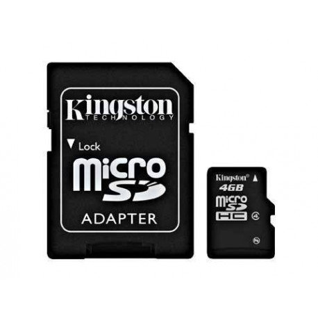 MEM MICRO SD 4GB SDHC KINGSTON CLASE 4 + ADAPT SD