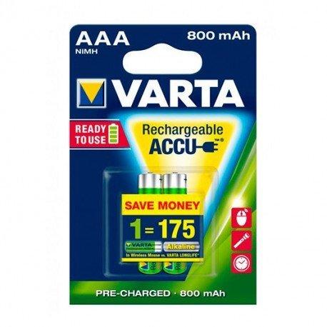 PILAS RECARGABLES VARTA AAA 800MAH PACK 2