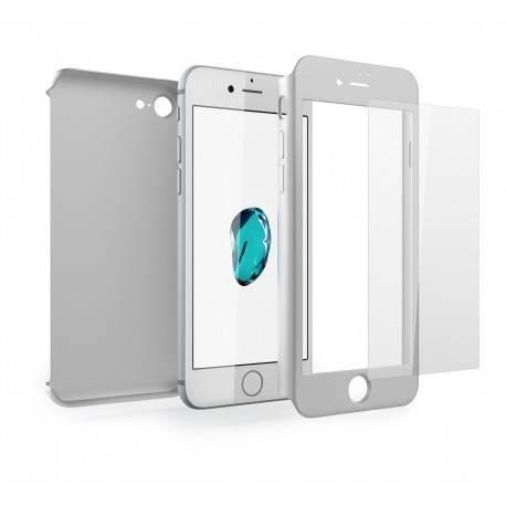Funda iPhone 7 PLUS 360 Grados + Cristal Templado plata