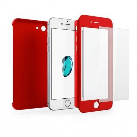 Funda iPhone 7 360 Grados + Cristal Templado rojo