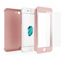 Funda iPhone 7 360 Grados + Cristal Templado rosa-Blindado protección total bumper anti shocks