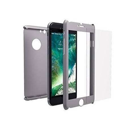 Funda iPhone 6/6s 360 Grados + Cristal Templado gris